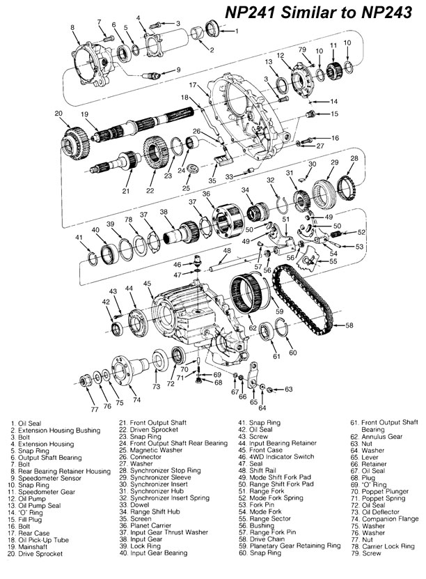 rebuild kit np243 transfer case and parts with illustration