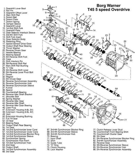 1995 F150 Transmission Diagram http://www.drivetrain.com/parts_catalog/manual_transmission_overhaul_kits/ford_t45_manual_transmission_illustration.html