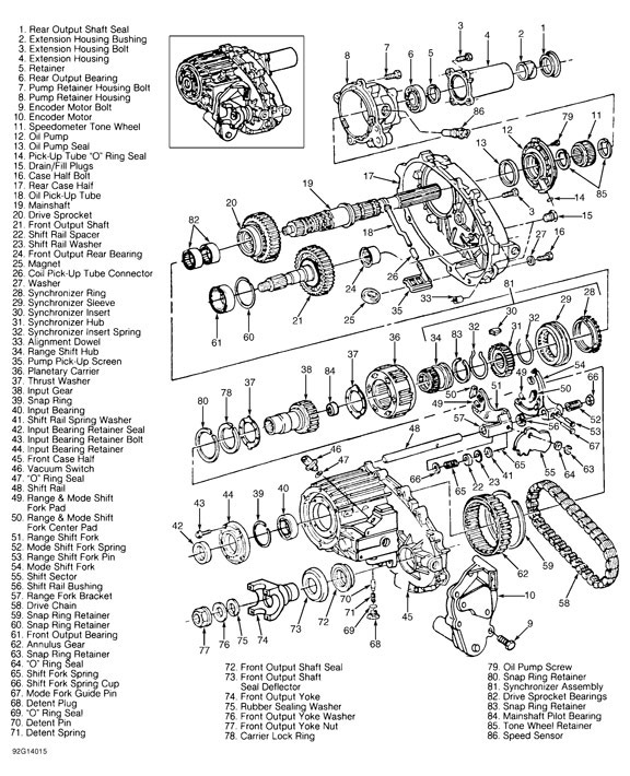 new process 205 parts diagram new process transfer case