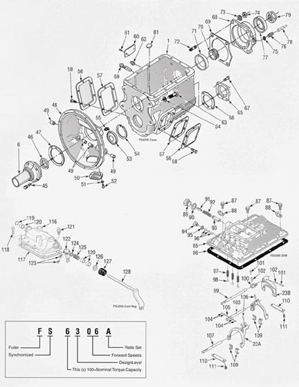 fuller fs4205 transmission illustrated parts drawings Eaton Fuller 10-Speed Diagram eaton fuller 18 speed transmission parts manual