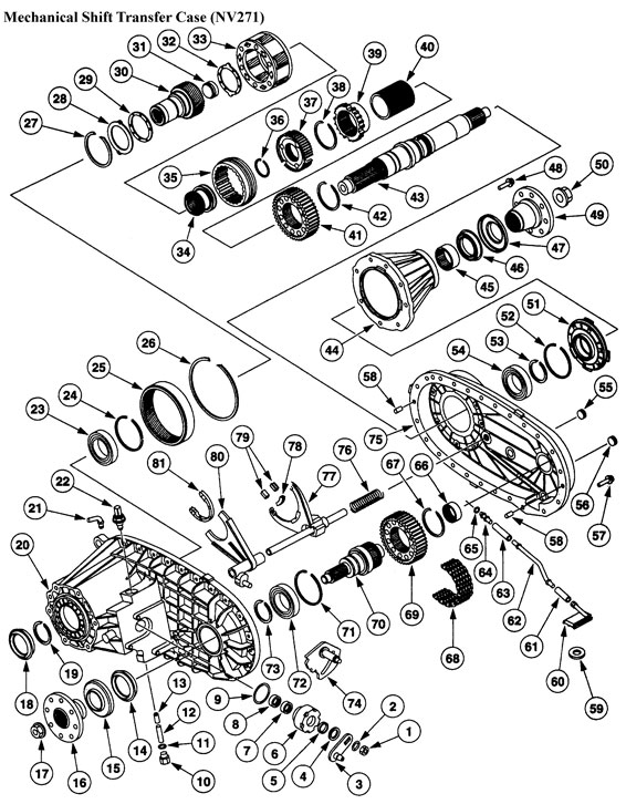 Transfer Case Np271 Rebuild Kit Drawing Parts List