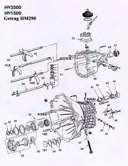 GM Getrag 290 NV3500 Transmission illustrated parts