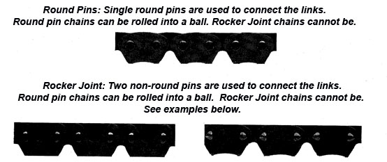Transfer case chain types, round and rocker pins