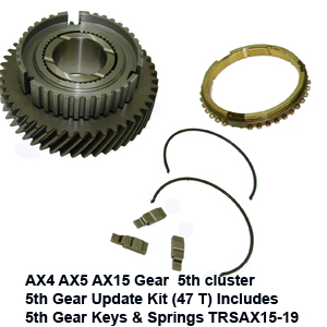AX4 AX5 AX15 Gear  5th cluster 5th Gear Update Kit (47 T) Includes 5th Gear Keys & Springs TRSAX15-19