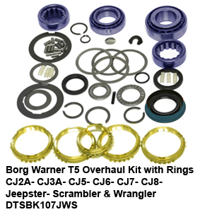 Borg Warner T5 Overhaul Kit with Rings CJ2A- CJ3A- CJ5- CJ6- CJ7- CJ8- Jeepster- Scrambler & Wrangler DTSBK107JWS4