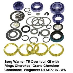 Borg Warner T5 Overhaul Kit with Rings Cherokee- Grand Cherokee- Comanche- Wagoneer DTSBK107JWS